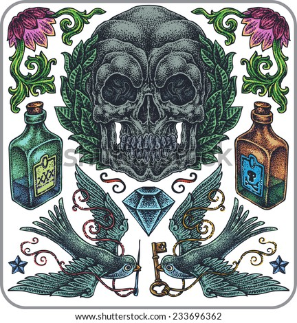 Hand-drawn set of old school poison theme tattoos. - stock vector