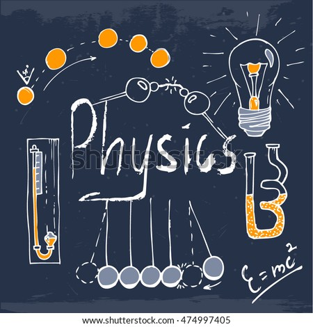 Handdrawn set physics objects your project stock vector 474997405 shutterstock for Physics planning and design experiments
