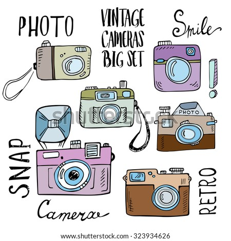 Hand drawn set of retro cameras with lettering.  - stock vector