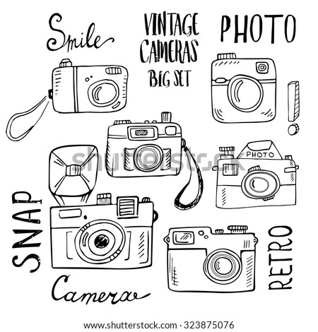 Hand drawn set of retro cameras with lettering. Vector illustration isolated on white background.  - stock vector