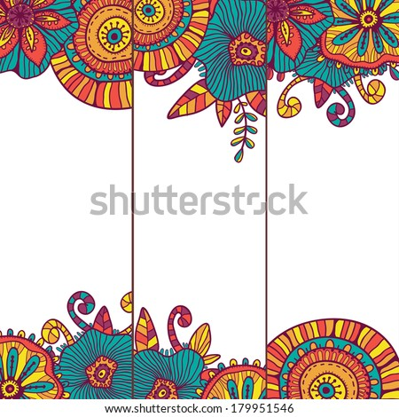 Hand drawn set of three bright summer cards. All objects are conveniently grouped on different layers and are easily editable - stock vector