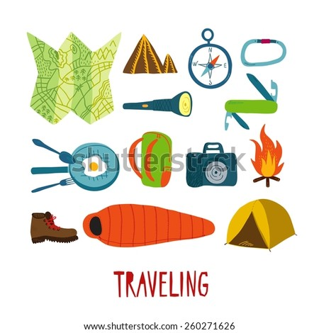 Hand drawn set of traveling stuff. Editable isolated objects - stock vector