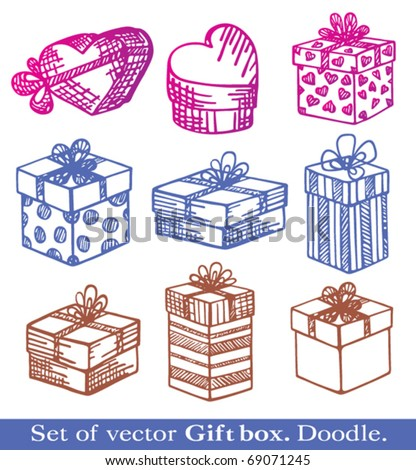 Hand-Drawn. Set of vector Gift boxes. Doodle. - stock vector