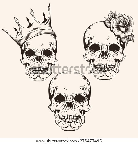 Hand Drawn Set Sketch Skulls Tattoo Stock Vector 275477495 ...