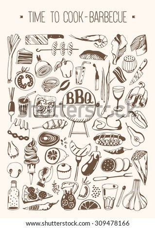 Hand drawn set - Time to cook - Barbeque - stock vector