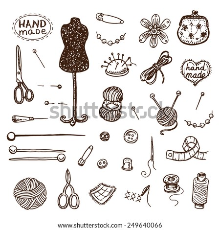 Hand drawn sewing icons set. - stock vector