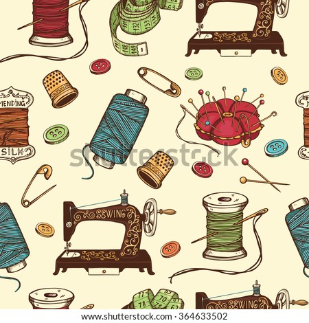 Hand Drawn Sewing Tools Seamless Pattern Stock-Vektorgrafik ...