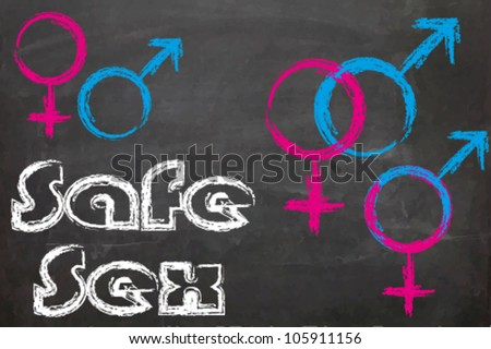 Hand Drawn Sex Symbols on a blackboard. Vector background eps 10 - stock vector