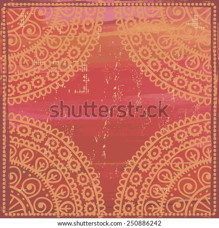 Hand drawn  shabby ethnic frame in red tones. All objects are conveniently grouped  and are easily editable. - stock vector