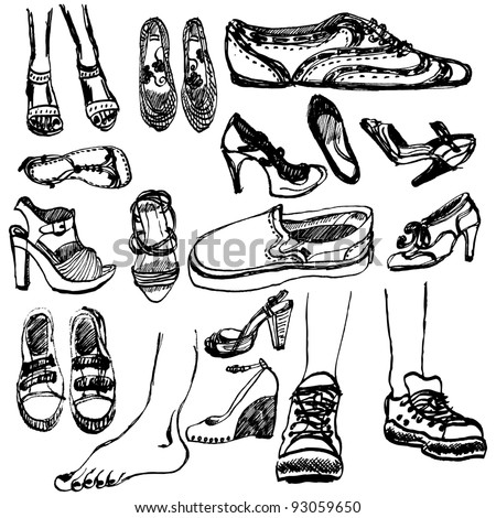 Hand-drawn shoes collection - stock vector