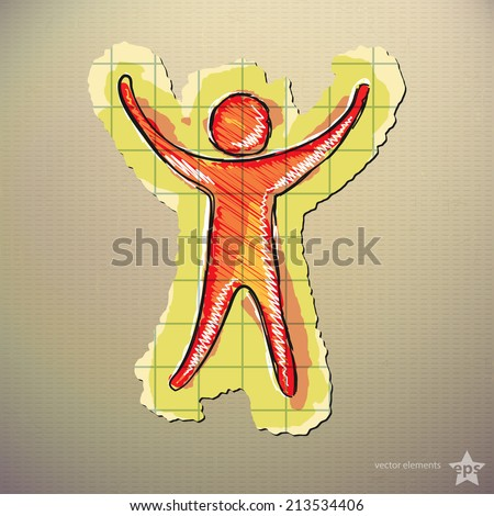 Hand drawn silhouette of a man with raised arms . Isolated - stock vector