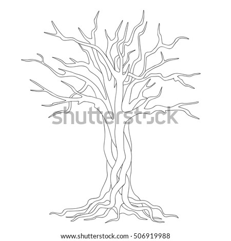 Hand Drawn Silhouette Tangled Tree Roots Stock Vector 506919988 ...