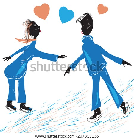 Hand drawn silhouettes of a happy couple skating. illustration and vector in simple manner on white - stock vector