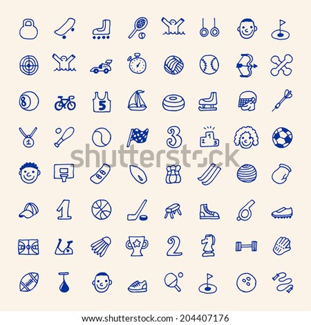 Hand drawn simple doodle sport icons set. Vector illustration. - stock vector