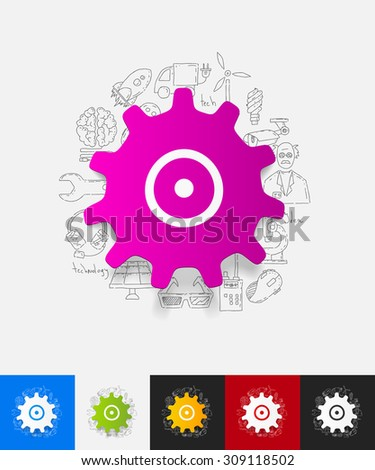 hand drawn simple elements with cogwheel paper sticker shadow