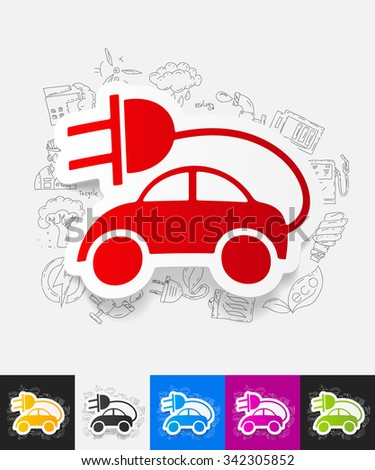 hand drawn simple elements with eco car paper sticker shadow