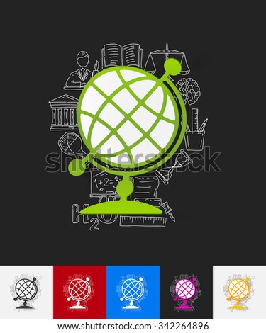 hand drawn simple elements with globe paper sticker shadow - stock vector