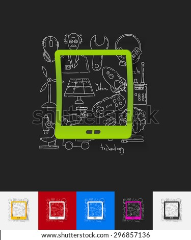 hand drawn simple elements with tablet paper sticker shadow - stock vector