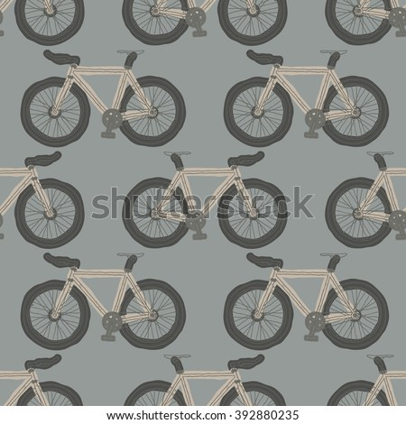 Hand Drawn Single Speed Fixed Gear Bicycle Seamless Pattern For Your Design Wallpaper Or
