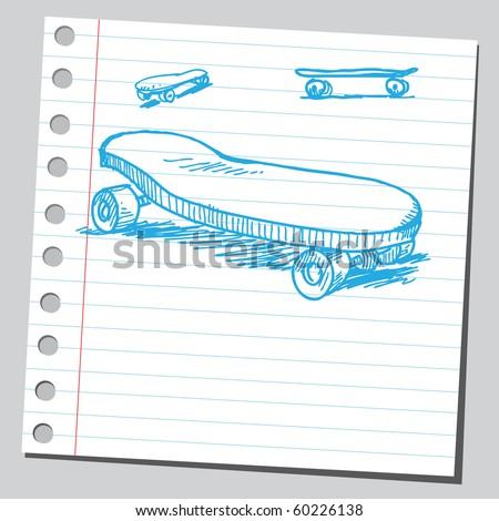 Hand drawn skateboards - stock vector