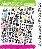 hand drawn sketch alphabet - stock vector