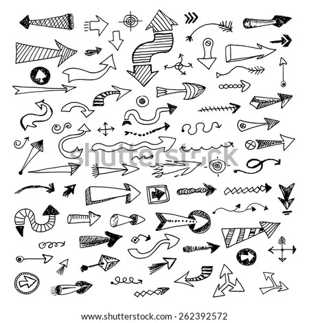 Hand drawn sketch arrows collection, vector ink set isolated on white background - stock vector