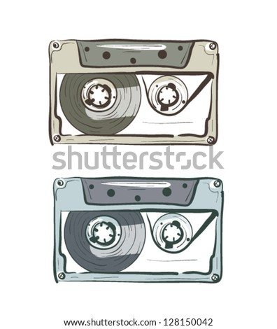 Hand-drawn Sketch Audio Cassettes - stock vector