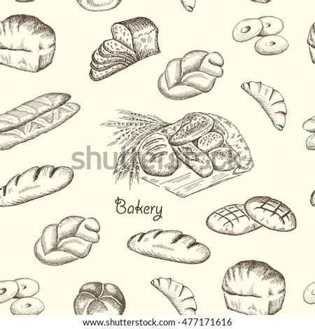 Hand drawn sketch bakery vintage seamless pattern. Vector illustration background.