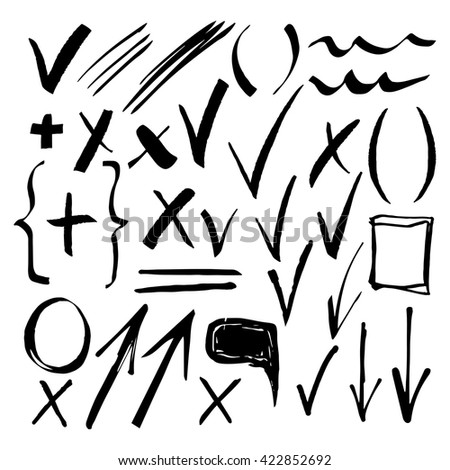 Hand drawn sketch black marker, brushed signs, arrows, lines, handwritten, marker design elements set  isolated - stock vector