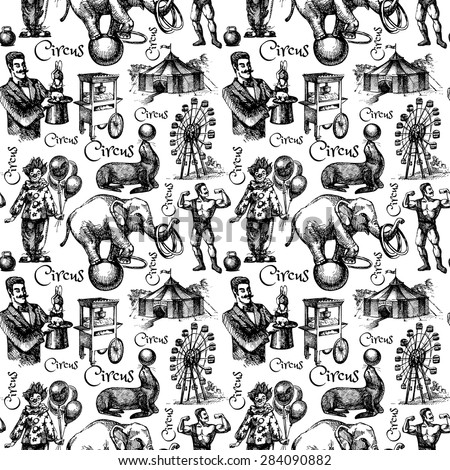 Hand drawn sketch circus and amusement vector illustration. Vintage seamless pattern. Black and white - stock vector