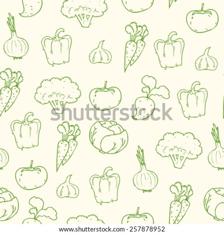 hand drawn sketch doodle cartoon vegetables seamless pattern, vector outlines illustration
