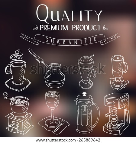 Hand drawn sketch doodle vintage simple coffee theme devices coffeemaking Menu design for cafe and restaurant Vector illustration. - stock vector