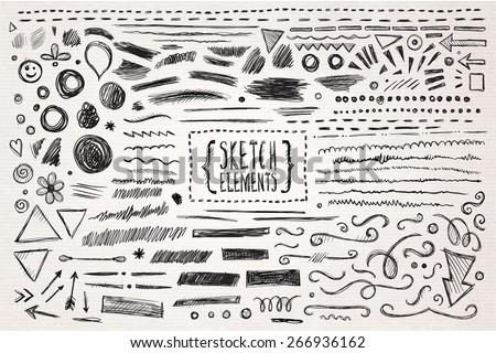 Hand drawn sketch hand drawn elements. Vector illustration. - stock vector