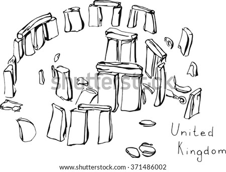 Hand drawn sketch illustration architecture landmark of Stonehenge United Kingdom with lettering vector - stock vector