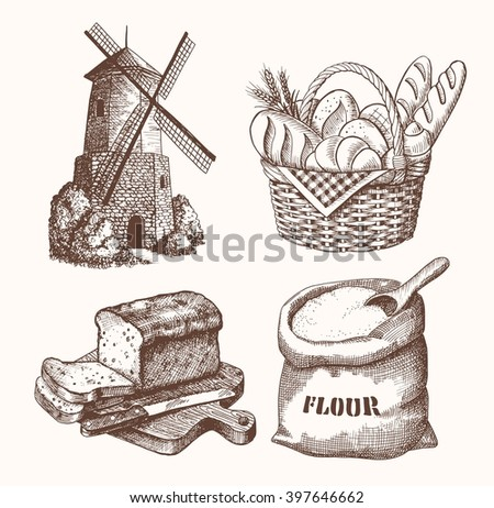 hand drawn sketch illustration bakery collection - stock vector