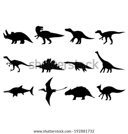 hand drawn, sketch illustration of different dinosaurs