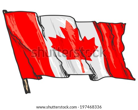 hand drawn, sketch, illustration of flag of Canada - stock vector