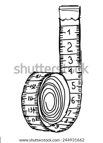 hand drawn, sketch illustration of measuring tape - stock vector