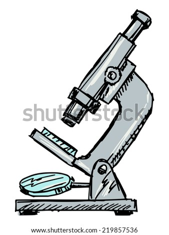 hand drawn, sketch illustration of microscope