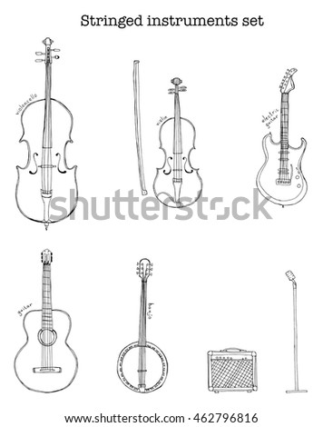 Hand drawn sketch illustration of stringed instruments set with microphone on the stand and an electronic amplifier and lettering violoncello, violin, guitar, electric guitar, banjo vector