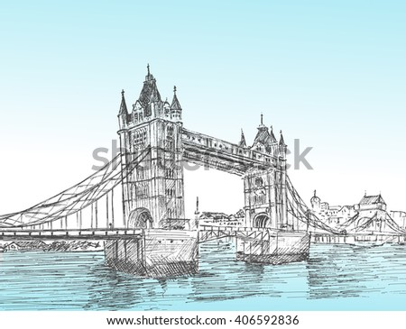 Hand Drawn sketch illustration of Tower Bridge, London, UK. vector