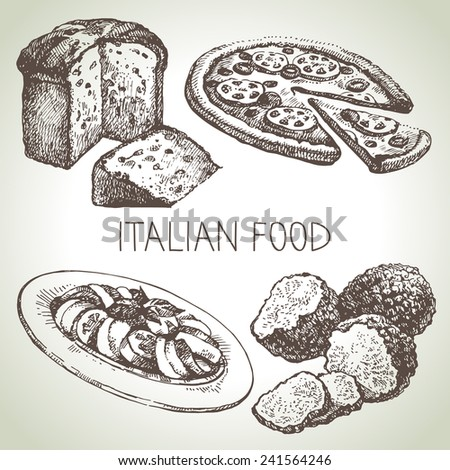 Hand drawn sketch Italian food set.Vector illustration  - stock vector