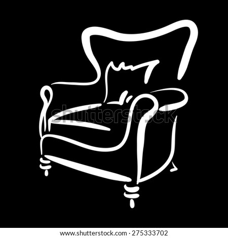 Hand drawn sketch of a leather armchair on the black background. Elegant furniture. - stock vector