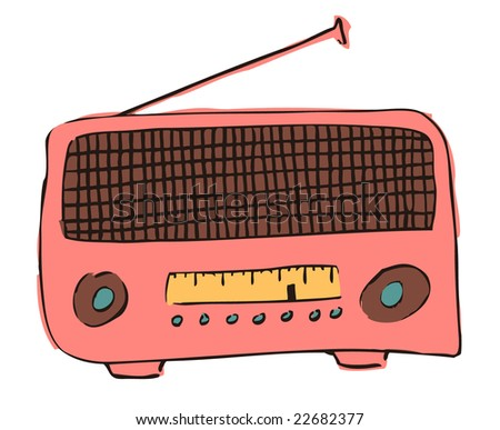 Hand-drawn sketch of a vintage radio - stock vector