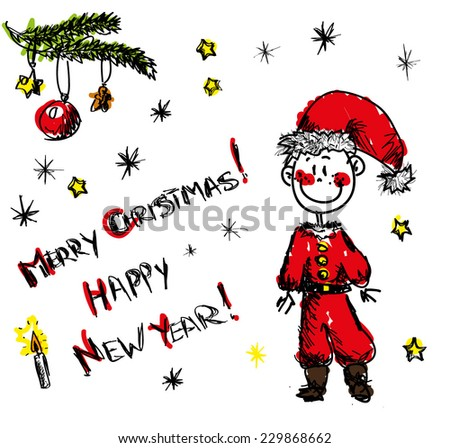 Hand drawn sketch of a young Santa Claus wishing Merry Christmas and Happy New Year with a set of doodle stars and snow?lakes - stock vector