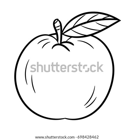 Isolated Apple Outline Cartoon Vector