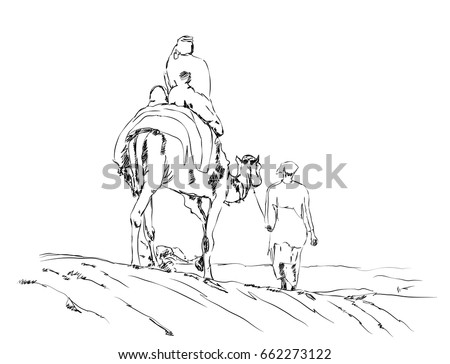 Hand Drawn Sketch Of Camel Riding In Vector Illustration