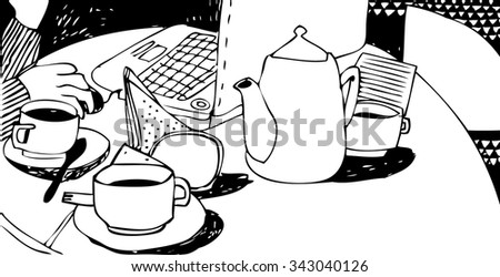 Hand drawn sketch of cups of coffee and tea, tea pot and laptop . Vector illustration of  working coffee break. Black ink freehand drawing. Black and white - stock vector