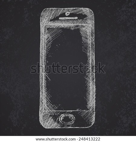 Hand drawn sketch of mobile phone front on blackboard. - stock vector