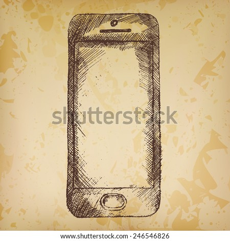 Hand drawn sketch of mobile phone front on old paper. - stock vector
